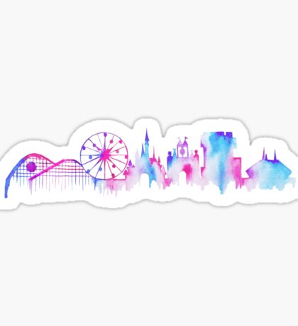 California Magic Theme Park Watercolor Skyline Silhouette Sticker