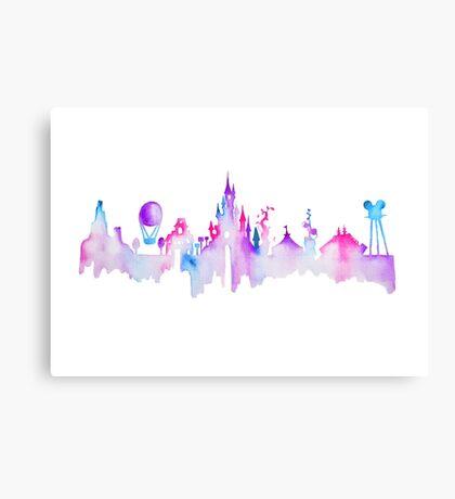 Paris Magic Theme Park Watercolor Skyline Silhouette Canvas Print
