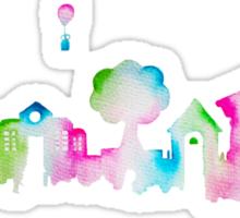 Nintendo Animal Crossing New Leaf Watercolor Skyline Silhouette Sticker