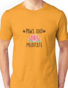 Paws And Meditate Cute Dog Lover Animal Yoga T-Shirt Unisex T-Shirt