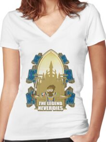 The Legend Never Dies Women's Fitted V-Neck T-Shirt