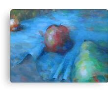 Fruit On A Blue Cloth Canvas Print
