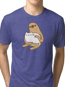 Cute Kawaii Sloth Cat Tri-blend T-Shirt