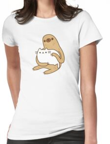Cute Kawaii Sloth Cat Womens Fitted T-Shirt
