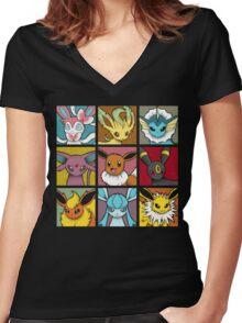 Pop Eeveelutions Women's Fitted V-Neck T-Shirt