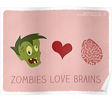 Zombies Love Brains Poster