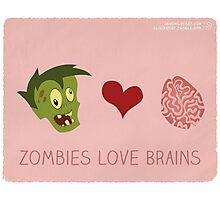 Zombies Love Brains Photographic Print
