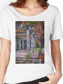 Photography of rhomboidal columns and autumn leaves in Targoviste, Romania Women's Relaxed Fit T-Shirt