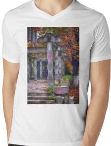 Photography of rhomboidal columns and autumn leaves in Targoviste, Romania Mens V-Neck T-Shirt