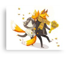 Sunflower Foxes Canvas Print