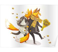 Sunflower Foxes Poster