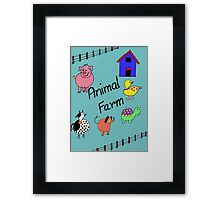 Farmyard Scene brightly coloured for kids and babies Framed Print