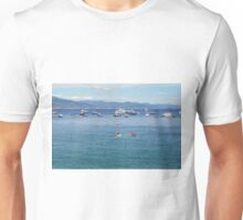 Photography of sailing boats in the water of Portofino, Italy Unisex T-Shirt