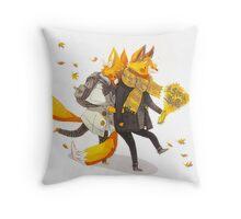 Sunflower Foxes Throw Pillow