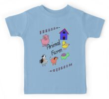 Farmyard Scene brightly coloured for kids and babies Kids Tee
