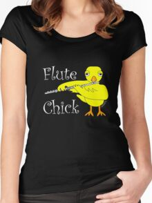 Flute Chick Funny Musical Instrument T Shirt With White Text  Women's Fitted Scoop T-Shirt