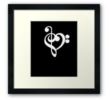 Treble Bass Clef Heart T Shirt Music Gift Idea  Framed Print