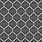 Black and White Quatrefoil Pattern on Grey by Ra12