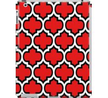 Black and White Quatrefoil Pattern on Red iPad Case/Skin