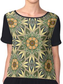 Floral mandala abstract pattern design by Somberlain Chiffon Top