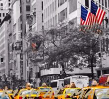 Color in 5th Ave Yellow Cabs plus Stars and Stripes Sticker
