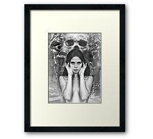 Naked Chick with Skull Framed Print