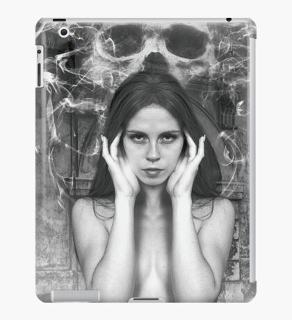 Naked Chick with Skull iPad Case/Skin