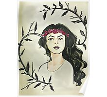 Watercolor // Girl in Flower Crown  Poster