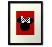 Minnie Mouse Ears with Black & White Spotty Bow Framed Print