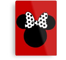 Mouse Ears with Black & White Spotty Bow Metal Print