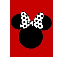 Minnie Mouse Ears with Black & White Spotty Bow Photographic Print