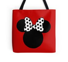 Minnie Mouse Ears with Black & White Spotty Bow Tote Bag