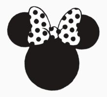 Mouse Ears with Black & White Spotty Bow Kids Tee