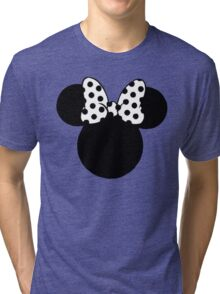 Mouse Ears with Black & White Spotty Bow Tri-blend T-Shirt