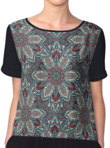 Floral mandala abstract pattern design by Somberlain Chiffon Top