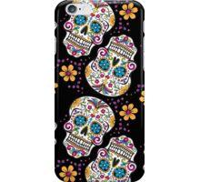 Sugar Skull Pattern BLACK iPhone Case/Skin
