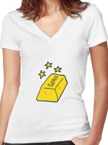 cartoon bar of gold Women's Fitted V-Neck T-Shirt