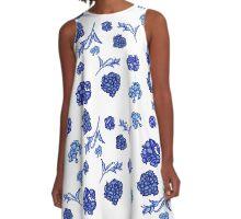 Pretty blue and white floral fashion print A-Line Dress