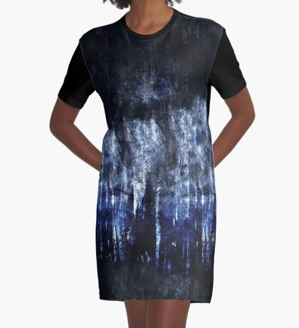 abstract blue black Graphic T-Shirt Dress