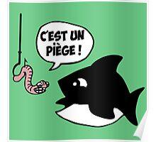 poisson pêcheur humour fun Poster