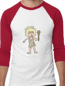 cartoon cave woman Men's Baseball ¾ T-Shirt