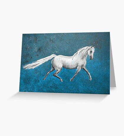 Galloping White Horse Greeting Card