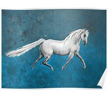 Galloping White Horse Poster