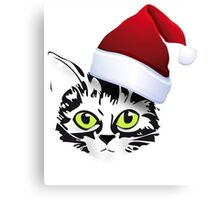christmas cat katze kitty santa rote mütze Canvas Print