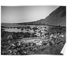 Rocky Bay Black & White Poster