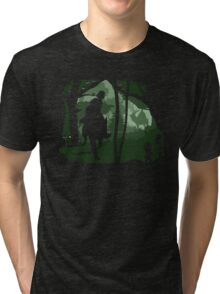 Mononoke, Wolf and Ashitaka in Forest Anime Tri-blend T-Shirt