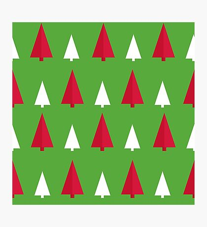 red, white, green, pattern tree Photographic Print