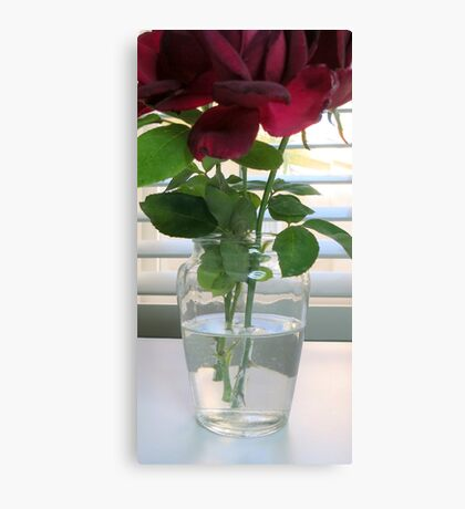 Vase With Red Roses Canvas Print