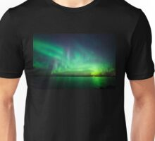 Northern lights over lake Unisex T-Shirt