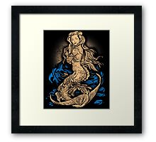 Beautiful Mermaid Vintage Tattoo Pin Up Girl Grunge Distressed Military Beach Ocean Sea Summer Framed Print